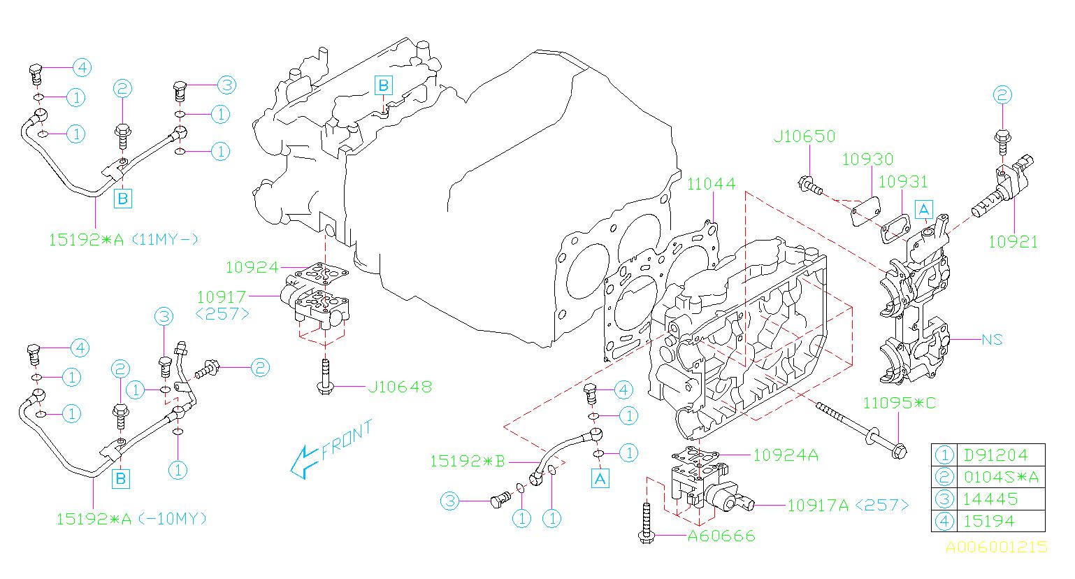 2010 Subaru Impreza Engine Cylinder Head Gasket  System